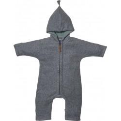 "Kitz Heimat - Bio Baby Fleece Overall ""Juni"" mit Kapuze, grey/dusty mint"