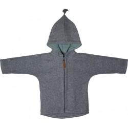 "Kitz Heimat - Bio Baby Fleece Jacke ""Juni"" mit Kapuze, grey/mint"