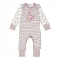 """Sense Organics - Bio Baby Strampler langarm """"Wayan"""" mit Giraffen-Motiv, mauve"""