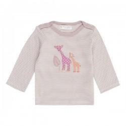 """Sense Organics - Bio Baby Langarmshirt """"Luna"""" mit Giraffen-Applikation und Streifen, mauve"""