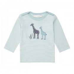 """Sense Organics - Bio Baby Langarmshirt """"Luna"""" mit Giraffen-Applikation und Streifen, blau"""