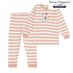 """Sense Organics - Bio Kinder Schlafanzug """"Long John Retro"""" mit Elefanten-Applikation und Streifen"""