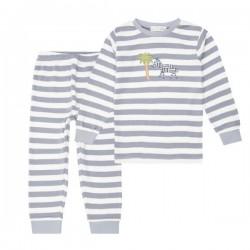"""Sense Organics - Bio Kinder Schlafanzug """"Long John Retro"""" mit Zebra-Applikation und Streifen"""