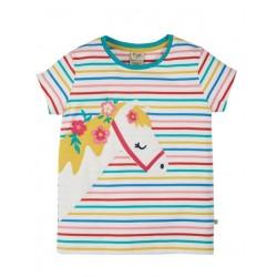 """frugi - Bio Kinder T-Shirt """"Camille"""" mit Pferde-Applikation und Streifen"""