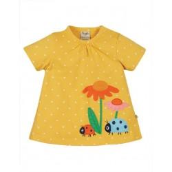"""frugi - Bio Kinder T-Shirt """"Eva"""" mit Käfer-Applikation und Punkten"""