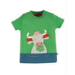 """frugi - Bio Kinder T-Shirt """"Penryn"""" mit Büffel-Applikation und Zotteln"""