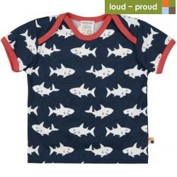 loud + proud - Bio Kinder T-Shirt mit Hai-Allover, marine