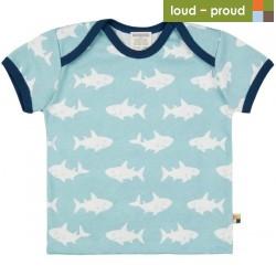 loud + proud - Bio Kinder T-Shirt mit Hai-Allover, lagoon