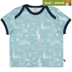 loud + proud - Bio Kinder T-Shirt mit Meerestiere-Allover, lagoon