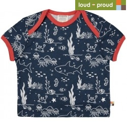 loud + proud - Bio Kinder T-Shirt mit Meerestiere-Allover, marine