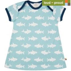loud + proud - Bio Kinder Jersey Kleid mit Hai-Allover, lagoon