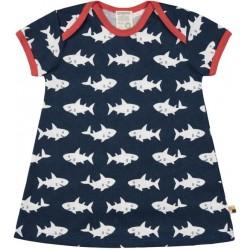 loud + proud - Bio Kinder Jersey Kleid mit Hai-Allover, marine
