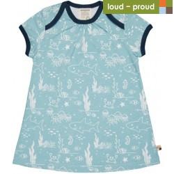 loud + proud - Bio Kinder Jersey Kleid mit Meerestiere-Allover, lagoon