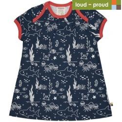 loud + proud - Bio Kinder Jersey Kleid mit Meerestiere-Allover, marine