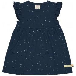loud + proud - Bio Kinder Jersey Kleid mit Punkten und Flügelärmel, marine