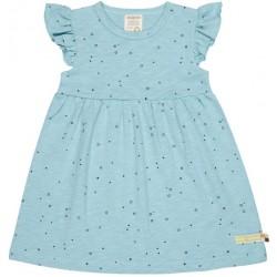 loud + proud - Bio Kinder Jersey Kleid mit Punkten und Flügelärmel, lagoon