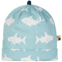 loud + proud - Bio Kinder Jersey Mütze mit Hai-Allover, lagoon