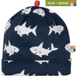 loud + proud - Bio Kinder Jersey Mütze mit Hai-Allover, marine
