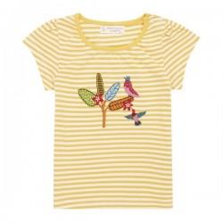 """Sense Organics - Bio Kinder T-Shirt """"Gada"""" mit Vogel-Applikation und Streifen"""