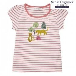 """Sense Organics - Bio Kinder T-Shirt """"Gada"""" mit Leoparden-Applikation und Streifen"""