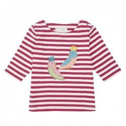 """Sense Organics - Bio Kinder 3/4 Shirt """"Louise"""" mit Papageien-Applikation und Streifen"""