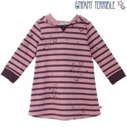 Enfant Terrible - Bio Kinder Sweatkleid mit Streifen und Sterndruck