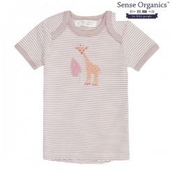 """Sense Organics - Bio Baby T-Shirt """"Tilly"""" mit Giraffen-Applikation und Streifen, mauve"""