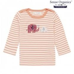 """Sense Organics - Bio Baby Langarmshirt """"Luna Retro"""" mit Elefanten-Applikation und Streifen"""