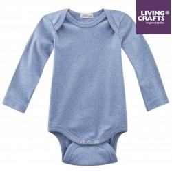 LIVING CRAFTS - Bio Baby Body langarm, blau melange