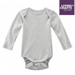 LIVING CRAFTS - Bio Baby Body langarm, grau melange