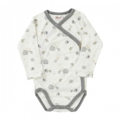 People Wear Organic - Bio Baby Wickelbody mit Elefanten-Allover