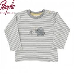 People Wear Organic - Bio Baby Langarmshirt mit Elefanten-Druck und Streifen