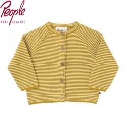 People Wear Organic - Bio Baby Strickjacke mit Streifen, gelb