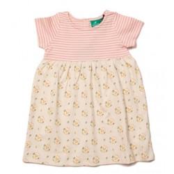 Little Green Radicals - Bio Kinder Jersey Kleid mit Blumen-Allover und Streifen