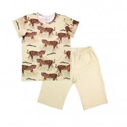 Walkiddy - Bio Kinder Schlafanzug kurz mit Tiger-Allover
