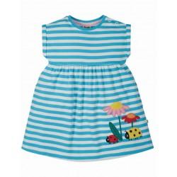 """frugi - Bio Kinder Jersey Kleid """"Fliss"""" mit Käfer-Applikation und Streifen"""