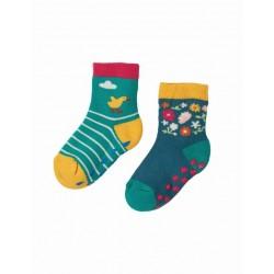frugi - Baby Frottee Stopper Socken Doppelpack mit Enten- und Blumen-Motiv