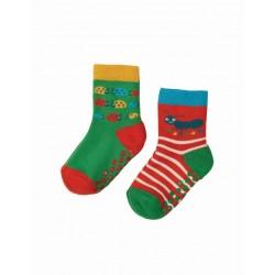 frugi - Baby Frottee Stopper Socken Doppelpack mit Käfer- und Raupen-Motiv