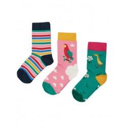 """frugi - Kinder Strümpfe 3er-Pack """"Rock my Socks"""" Papagei, Ente und Streifen"""