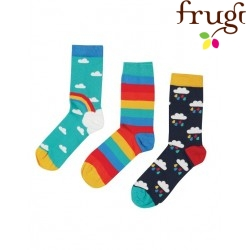 """frugi - Kinder Strümpfe 3er-Pack """"Rock my Socks"""" mit Regenbogen-Motiven"""