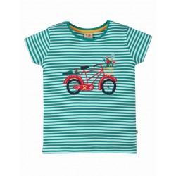 """frugi - Bio Kinder T-Shirt """"Camille"""" mit Fahrrad-Applikation und Streifen"""