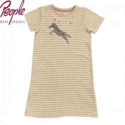 People Wear Organic - Bio Kinder Nachthemd mit Zebra-Druck und Streifen