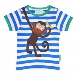 Toby tiger - Bio Baby Langarmshirt mit Affen-Motiv und Streifen