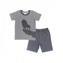 People Wear Organic - Bio Kinder Schlafanzug kurz mit Löwen-Druck