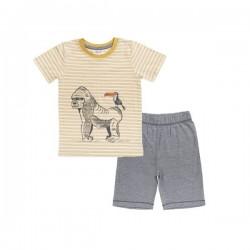 People Wear Organic - Bio Kinder Schlafanzug kurz mit Gorilla-Druck und Streifen