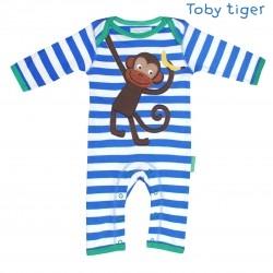 Toby tiger - Bio Baby Strampler mit Affen-Motiv und Streifen
