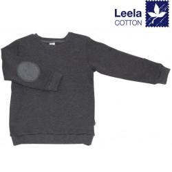Leela Cotton - Bio Kinder Sweatshirt mit Waffelstruktur , anthrazit-melange