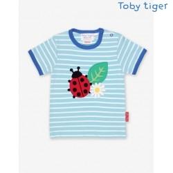 Toby tiger - Bio Kinder T-Shirt mit Marienkäfer-Applikation und Streifen