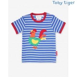 Toby tiger - Bio Kinder T-Shirt mit Hahn-Applikation und Streifen