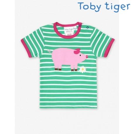 Toby tiger - Bio Kinder T-Shirt mit Schwein-Applikation und Streifen
